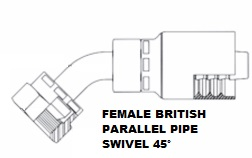 Female British Parallel Pipe Swivel 45° (4)